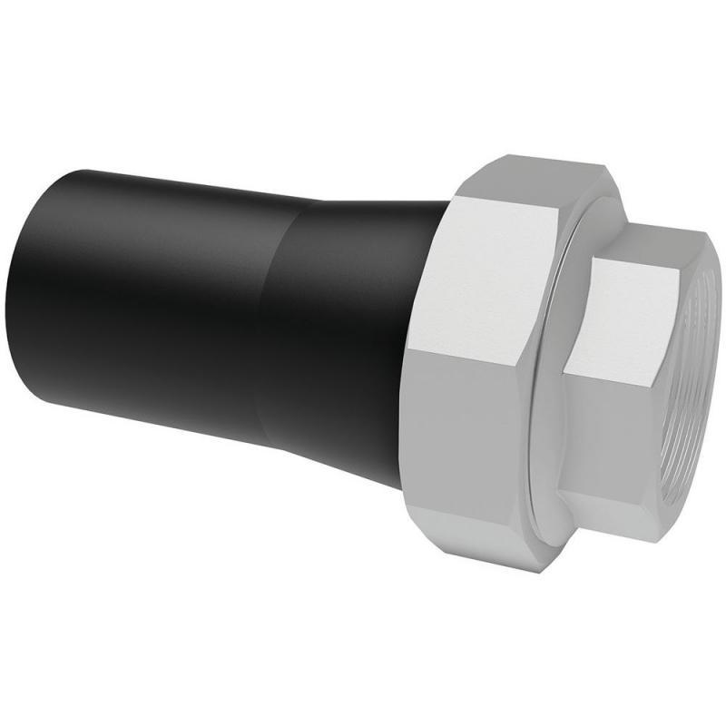 110x4 hosszú PE-rozsdamentes acél belső menetes összekötő idom PE100 SDR11 fekete BR